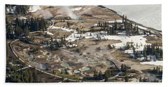 Aerial Photo Of West Thumb Geyser Basin Hand Towel