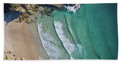 Aerial Shot Of Honeymoon Bay On Moreton Island Hand Towel