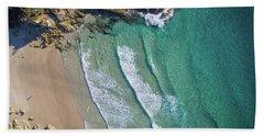 Aerial Shot Of Honeymoon Bay On Moreton Island Hand Towel