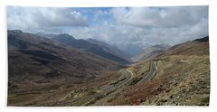Aerial Shot Of Mountainous Karakoram Highway Babusar Pass Pakistan Hand Towel