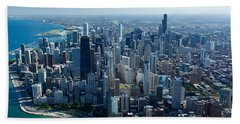 Aerial View Of A City, Lake Michigan Hand Towel