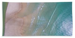 Aerial View Of Beach And Wave Patterns Hand Towel