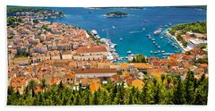 Aerial View Of Hvar Rooftops And Harbor Hand Towel