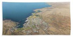 Aerial View Of Iceland South Coast  Bath Towel