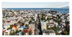 Aerial View Of Reykjavik In Iceland Bath Towel