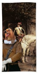 Afghan Hound-at The Tavern Canvas Fine Art Print Hand Towel