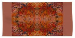 Aflame With Flower Quad Hotwaxed Version Of Acrylic/watercolour Bath Towel