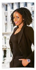 African American Businesswoman Working In New York Hand Towel