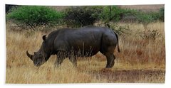 African Animals On Safari - One Very Rare White Rhinoceros Right Angle With Background Hand Towel