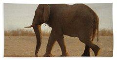 Bath Towel featuring the digital art African Elephant Walk by Ernie Echols