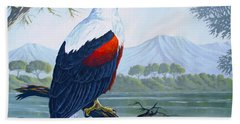 Hand Towel featuring the painting African Fish Eagle by Anthony Mwangi