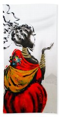 African Lady And Baby Hand Towel