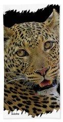 African Leopard Portrait Bath Towel