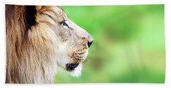 African Lion Face Closeup Web Banner Bath Towel