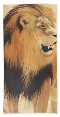African Lion On Rustic Wood Hand Towel