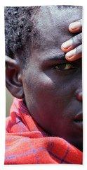 African Maasai Warrior Bath Towel