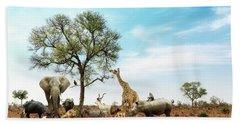 African Safari Animals Meeting Together Around Tree Bath Towel