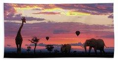 African Safari Colorful Sunrise With Animals Bath Towel