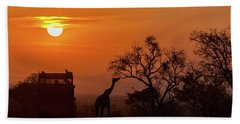 African Safari Sunset Silhouette Bath Towel