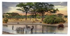 African Safari Wildlife At The Waterhole Hand Towel