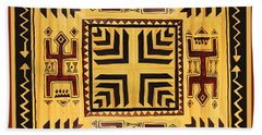 Hand Towel featuring the digital art African Tribal Spirits by Vagabond Folk Art - Virginia Vivier