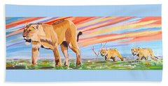 African Lion And Cubs Hand Towel by Phyllis Kaltenbach