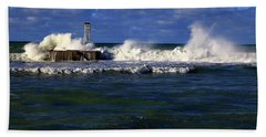 After The Storm The Breakwater Is Pounded By Angry Seas. Bath Towel