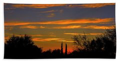 Bath Towel featuring the photograph Afterglow Silhouette H49 by Mark Myhaver