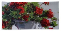 Bath Towel featuring the painting Afternoon Geraniums by Sandra Strohschein