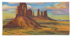 Hand Towel featuring the painting Afternoon Light Monument Valley by Diane McClary