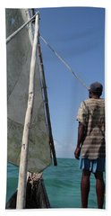 Afternoon Sailing In Africa Bath Towel