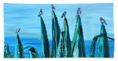Agave With Sparrows Bath Towel