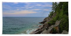 Hand Towel featuring the photograph Agawa Bay Rocky Shore by Rachel Cohen
