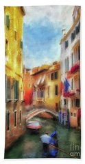 Hand Towel featuring the digital art Ahh Venezia Painterly by Lois Bryan
