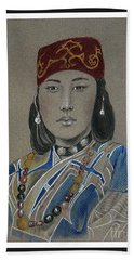 Ainu Woman -- Portrait Of Ethnic Asian Woman Hand Towel