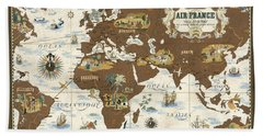 Air France - Historical Illustrated Map Of The World - Lucien Boucher - Cartography Hand Towel