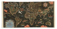 Air France - Historical Illustrated Map Of The World - Pictorial Map - Cartography Hand Towel