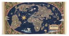 Air France - Illustrated Map Of The Air Routes By Lucien Boucher - Historical Map Of The World Hand Towel