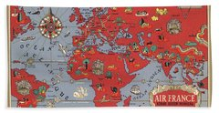 Air France - Vintage Illustrated Map Of The World By Lucien Boucher - Cartography Hand Towel