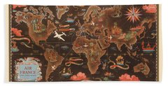 Air France - Vintage Illustrated Map Of The World - Lucien Boucher - Cartography Hand Towel