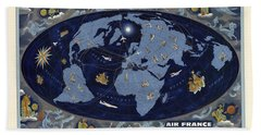 Air France - Vintage Illustrated World Map - Lucien Boucher - Air Routes Hand Towel