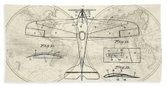 Airplane Patent Collage Hand Towel by Delphimages Photo Creations