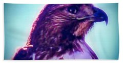 Ak-chin Red-tailed Hawk Portrait Bath Towel