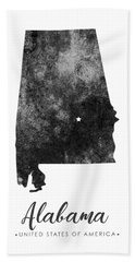 Alabama State Map Art - Grunge Silhouette Bath Towel