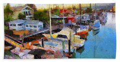 Hand Towel featuring the painting Alameda Life On The Estuary 2 by Linda Weinstock
