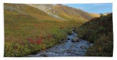 Alaska Fireweed And Willow Creek Along Hatcher Pass Road Bath Towel