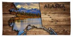 Alaska Map Collage Bath Towel