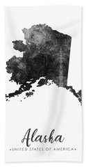 Alaska State Map Art - Grunge Silhouette Bath Towel