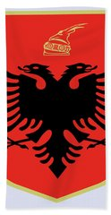 Bath Towel featuring the drawing Albania Coat Of Arms by Movie Poster Prints