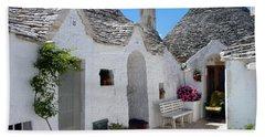 Alberobello Courtyard With Trulli Bath Towel